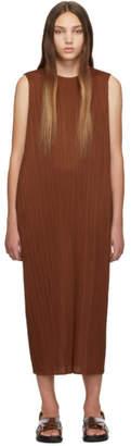 Pleats Please Issey Miyake SSENSE Exclusive Brown Pleated Tank Dress