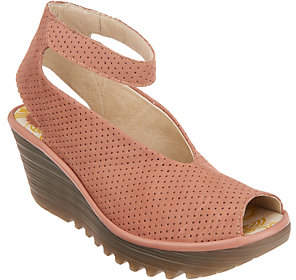 Fly London Perforated Leather Wedge Sandals -Yala Perf