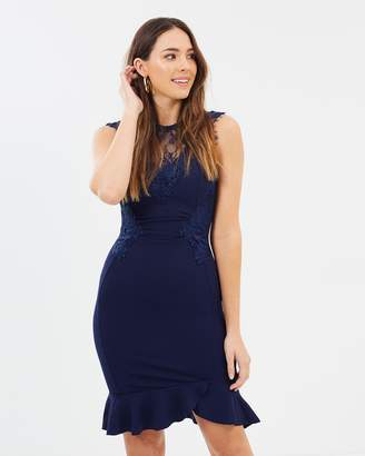 Lipsy Ruched Lace Frill Hem Dress