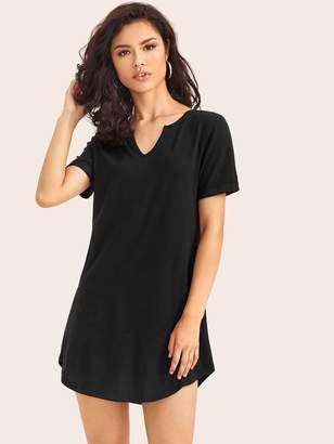 Shein Solid V-Neck Curved Hem Tee Dress