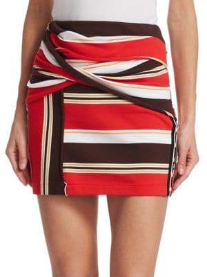3.1 Phillip Lim Striped Wrap Miniskirt