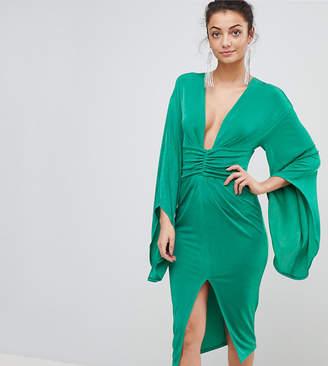 Asos Tall Deep Plunge Slinky Kimono Midi Dress