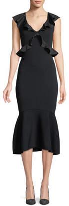 Sachin + Babi Usenmek Ruffled V-Neck Peplum Dress