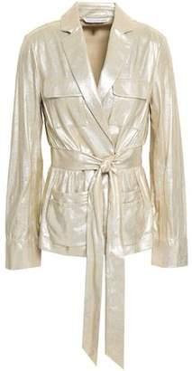 Diane von Furstenberg Hilda Metallic Leather Jacket