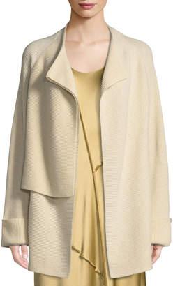 Wool-Cashmere Drape-Front Cardigan