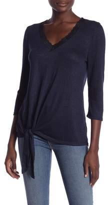 Bobeau V-Neck 3\u002F4 Length Sleeve Lace Trim Top (Regular & Petite)