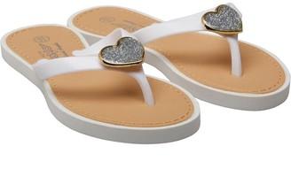 Board Angels Junior Girls Glitter Heart Toe Post Sandals White