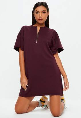 Missguided Purple Oversized Zip Front Sweater T-shirt Dress