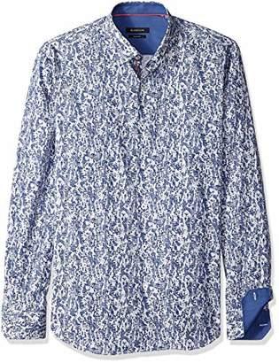 Bugatchi Men's Fancy Patterned Cotton Fabric Point Collar Shirt