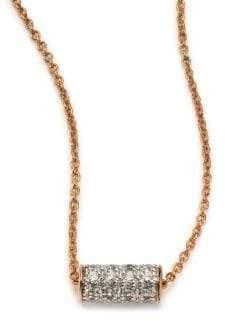 ginette_ny Diamond& 18K Rose Gold Mini Straw Necklace