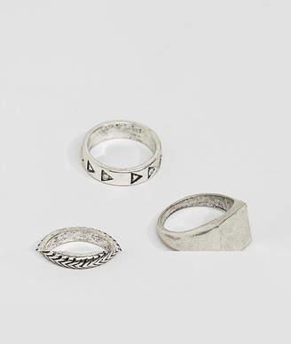 Asos Design Ring Pack In Burnished Silver