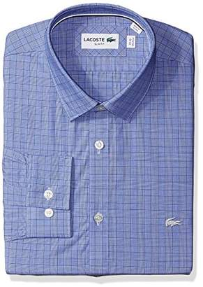 Lacoste Men's Long Sleeve Spread Collar Glen Plaid Poplin Slim Fit