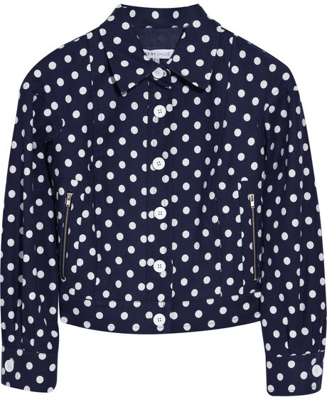 See by Chloé Polka-dot cotton-blend jacket