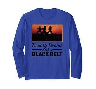 Beauty Brains And A Black Belt Shirt Karate Martial Arts Long Sleeve T-Shirt