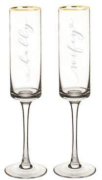Cathy's Concepts Hubby and Wifey 8 oz. Gold Rim Contemporary Champagne Flutes