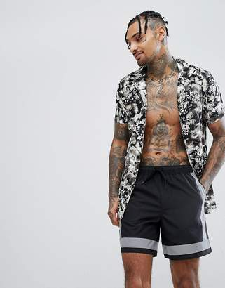 Asos DESIGN Swim Shorts With Reflective Details In Mid Length