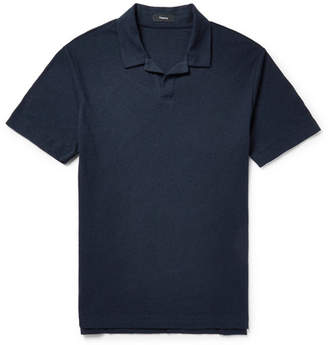 Theory Slim-Fit Camp-Collar Cotton and Linen-Blend Jersey Polo Shirt