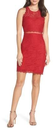 Sequin Hearts Sleeveless Glitter Lace Sheath Dress