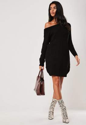 Missguided Black off Shoulder Knit Sweater Dress