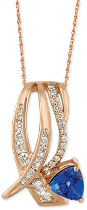 "LeVian Le Vian Tanzanite (1 ct. t.w.) and Diamond (5/8 ct. t.w.) 18"" Pendant Necklace in 14k Rose Gold"