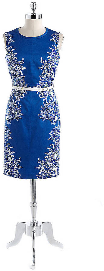 Anne Klein Belted Paisley Print Dress