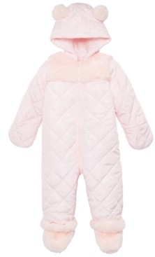 First Impressions Baby Girls Fur Trim Detachable Foot Snowsuit, Created for Macy's