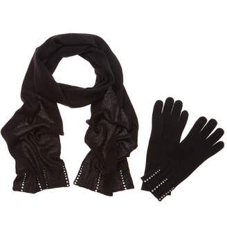 Portolano Rhinestone Cashmere-Blend Scarf And Glove Set