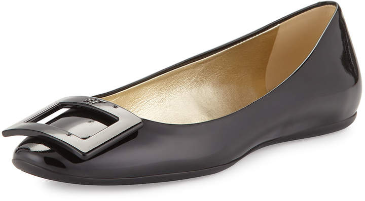 Roger Vivier Gomette Patent Leather Flat, Black
