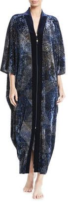 Diamond Tea Gown Copen-Print Velvet Zip Caftan, Plus Size