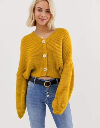 Asos Design DESIGN cropped cardigan with oversized sleeve detail