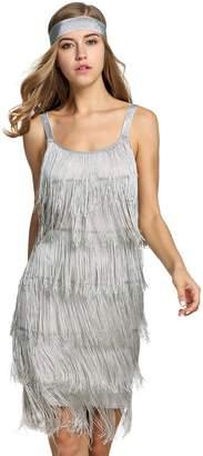 MMissy Women's 1920S Paisley Patchwork Dress Tassel Glam Party Gatsby Dress