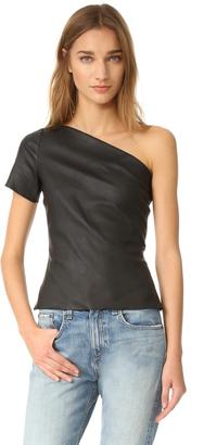 Helmut Lang Asymmetric One Shoulder Leather Top $495 thestylecure.com