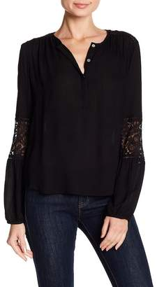 Love Stitch Lace Yoke Split Neck Blouse