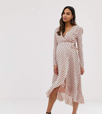 Queen Bee wrap front ruffle midi dress in pink polka