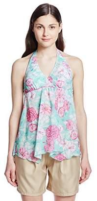 Munsingwear (マンシングウェア) - [サンアイミズギラクエン]【Munsingwear(マンシングウエア)】トロピカル プリント ホルターブラ パンツ セットアップ 水着 レディース グリーン 日本 11 (日本サイズ11 号相当)