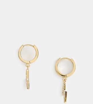 Orelia gold plated pave lightning bolt huggie hoop earrings