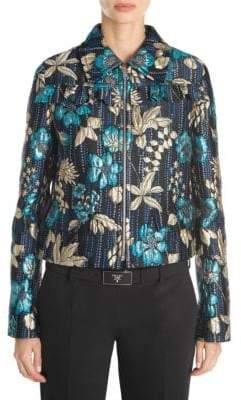 Prada Cloquet Flower Ruffle Jacket