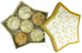 Asstd National Brand 6-Piece Brown and White Decoupage Snowflake and Tree Shatterproof Christmas Ball Ornament Set 2.75