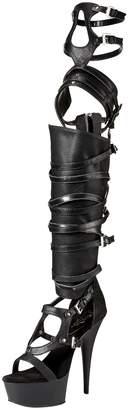Pleaser USA Women's Del600-50/bpu/m Boot, Faux Leather/Black