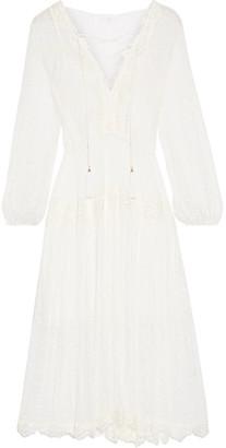 Zimmermann - Oleander Lace-trimmed Swiss-dot Silk-georgette Midi Dress - White $950 thestylecure.com