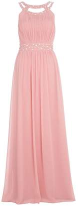 Quiz Rose Pink Chiffon Embellished Maxi Dress
