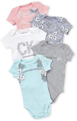 Calvin Klein Jeans Newborn Girls) 5-Pack Floral Logo Bodysuits