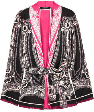 Etro - Fringed Printed Silk-satin Kimono - Black $1,300 thestylecure.com