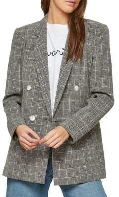 Miss Selfridge Grid Check Double-Breasted Blazer