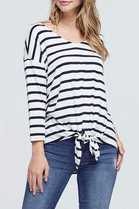 Papermoon Stripe Tie Front Top