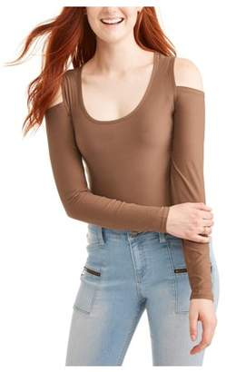 Eye Candy Juniors' Cold Shoulder Long Sleeve Peached Jersey T-Shirt