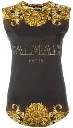 Balmain baroque logo tank top