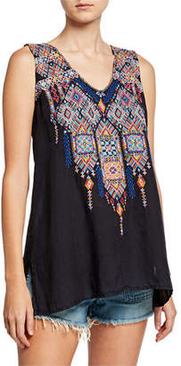 Johnny Was Shankara Embroidered V-Neck Handkerchief Linen Tank