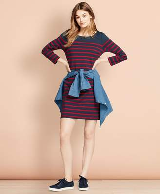 Brooks Brothers Striped Ponte Shift Dress