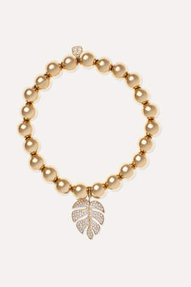 Sydney Evan Monstera 14-karat Gold Diamond Bracelet